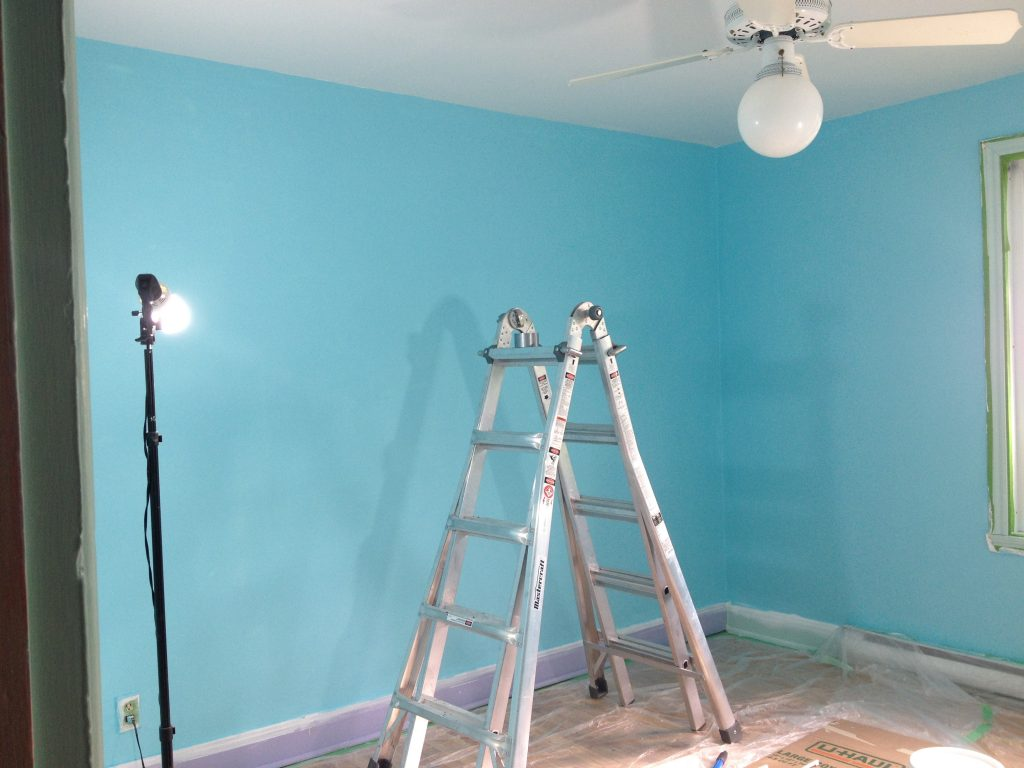 skimcoat textured walls DIY guest bedroom finished