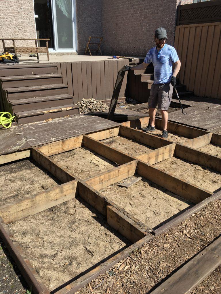backyard DIY renovation remodel dismantling removing deck
