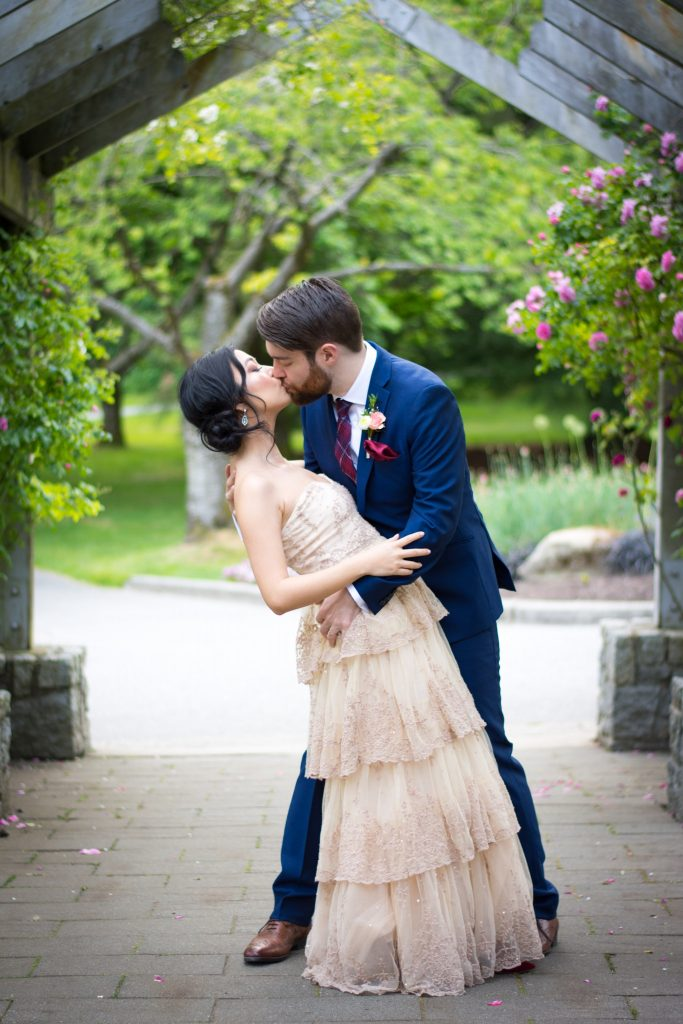 BHLDN ROSECLIFF GOWN SIMONS BLUE SUIT ROSE GARDEN VANCOUVER STANLEY PARK WEDDING PHOTO