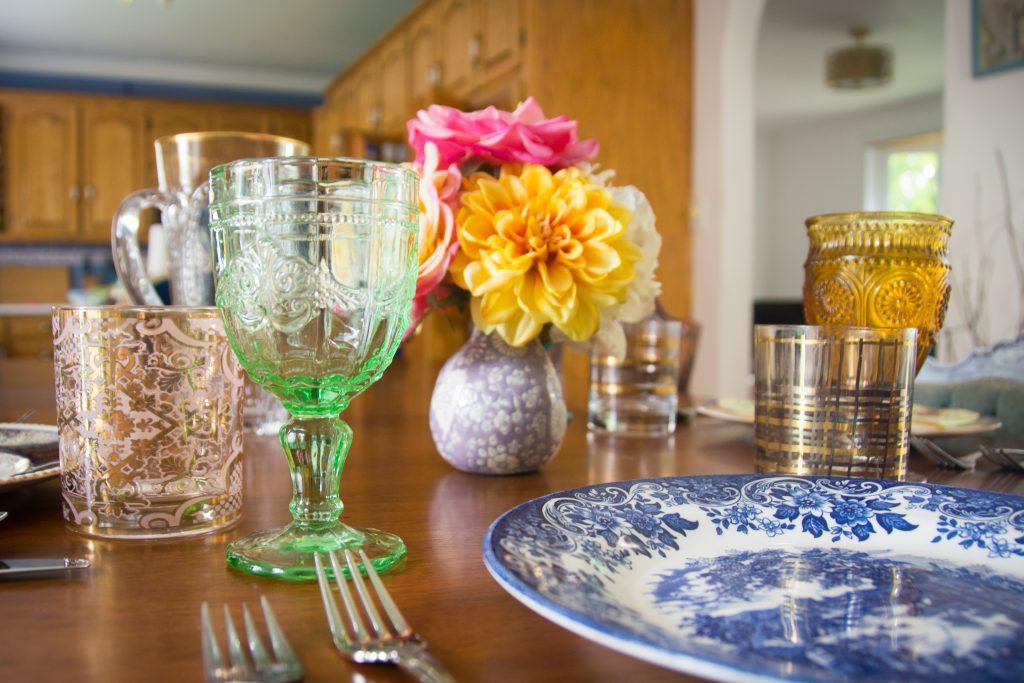 mismatched antique vintage ornate dinnerware dishware glassware cutlery 2