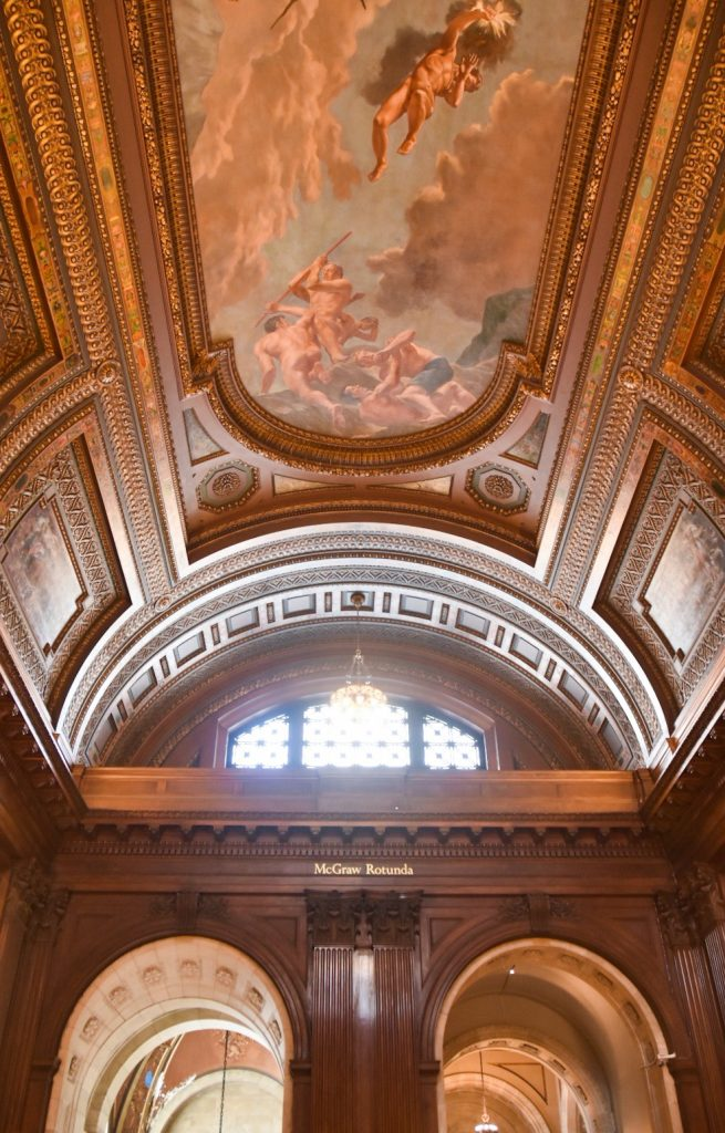 New York City Public Library ceiling mural travel