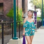 Yonkers train station platform New York City travel Forever 21 floral romper Crocs Isabella T-strap
