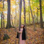 Montreal fall autumn leaves Mount Royal Zara dusty pink strapless maxi dress black cape fashion 4