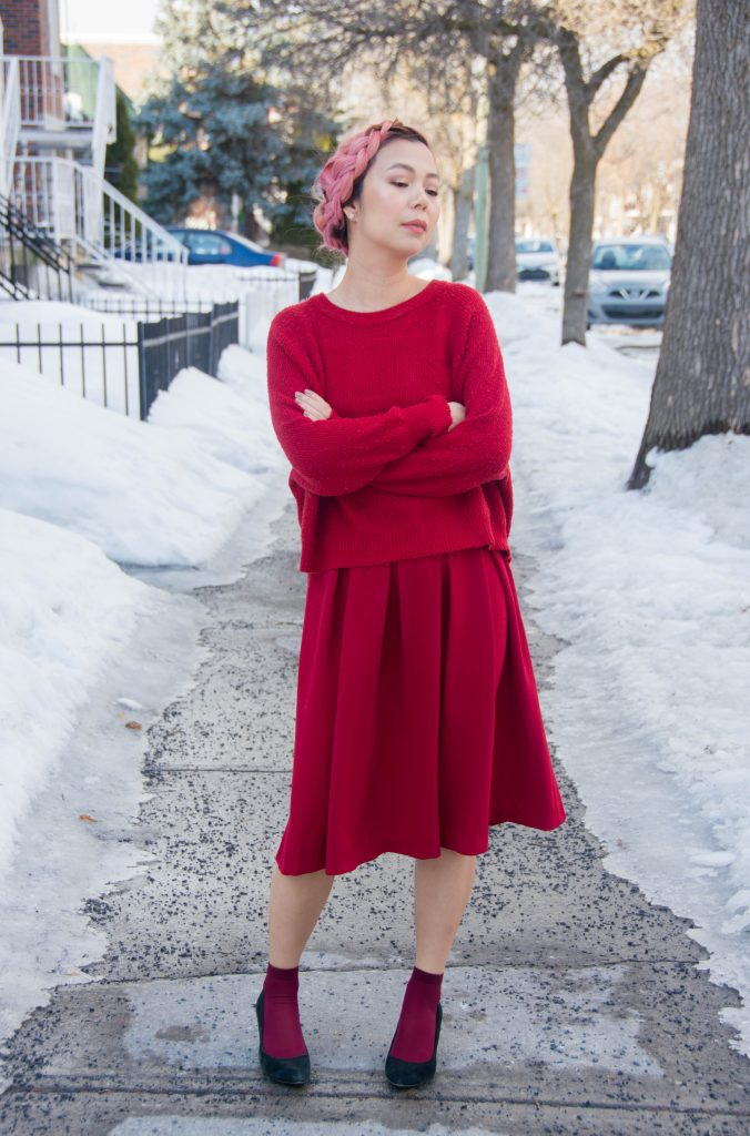 Valentine's Day all red outfit fashion circle midi skirt sweater burgundy socks black wedges pink hair 1