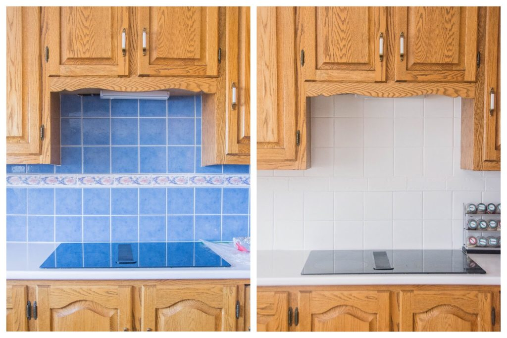 Montreal lifestyle fashion beauty blog kitchen backsplash DIY painting tile before after 1