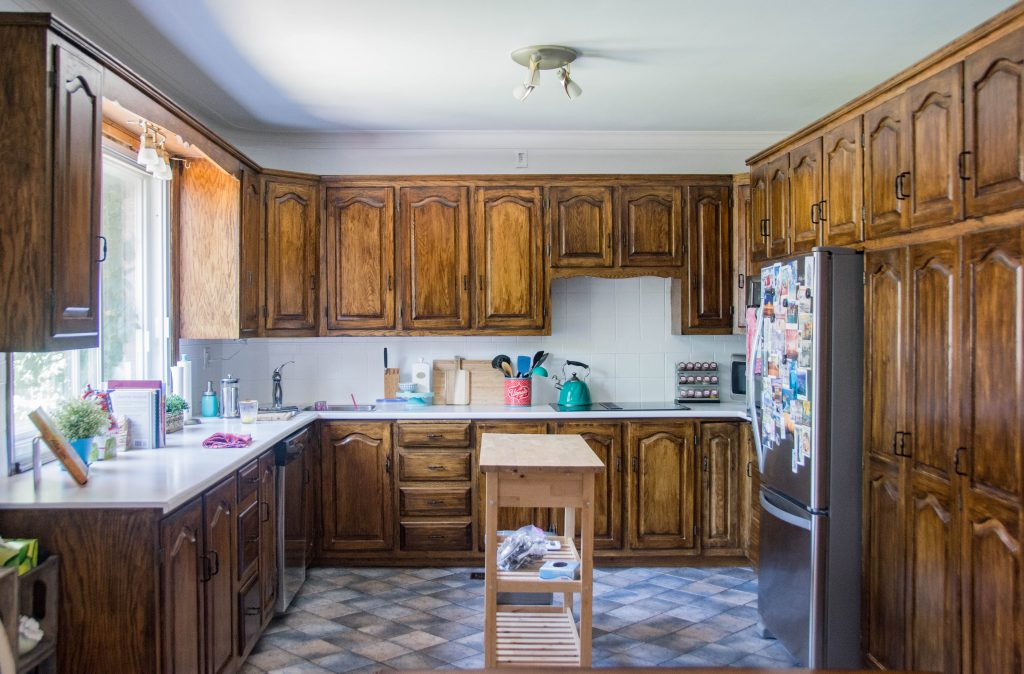 Diy Staining Oak Cabinets Eclectic Spark