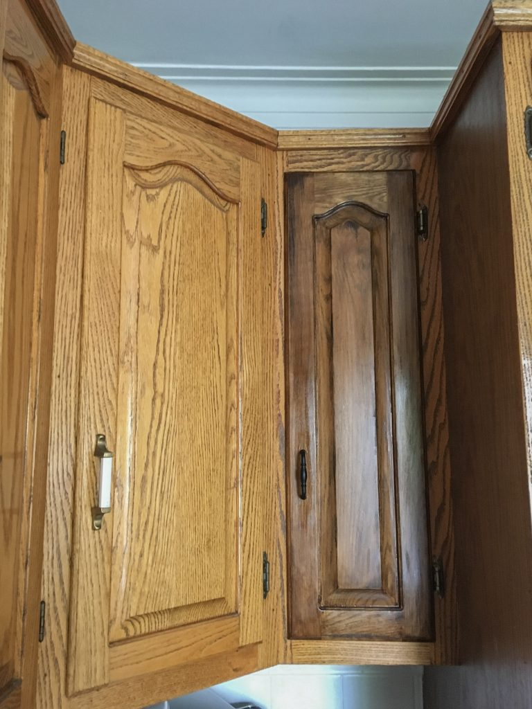 Image of: Diy Staining Oak Cabinets Eclectic Spark