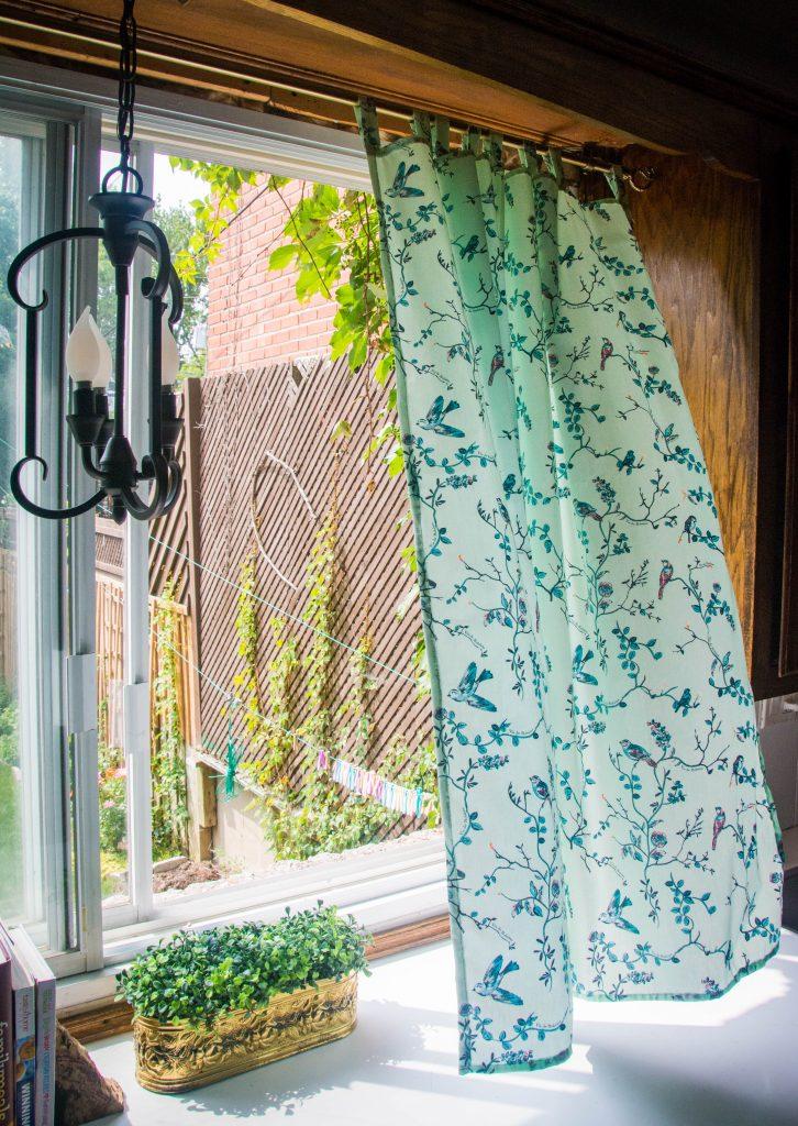after Funky Monkey Fabrics Vie de Boheme sunrise cotton print DIY tab curtain Montreal lifestyle blog 2
