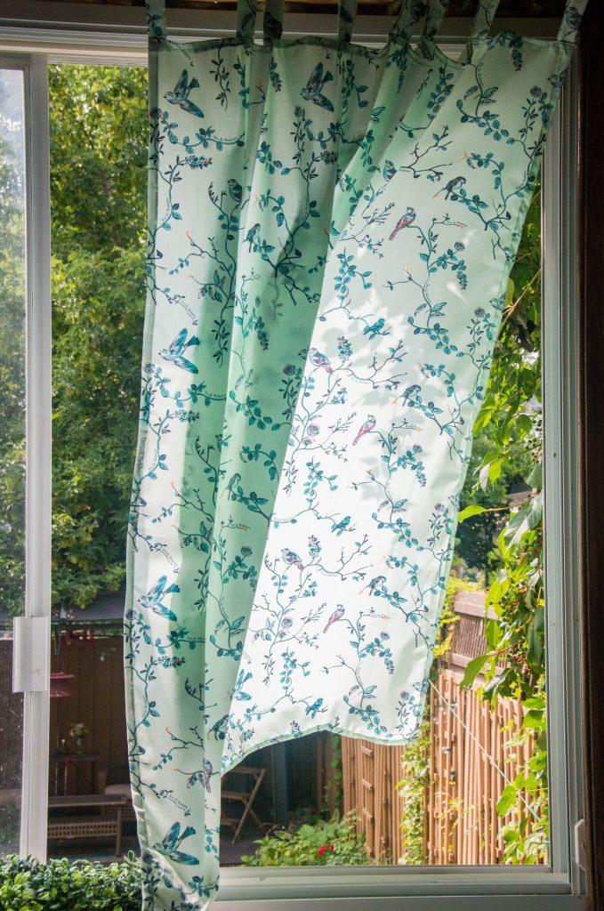 after Funky Monkey Fabrics Vie de Boheme sunrise cotton print DIY tab curtain Montreal lifestyle blog 3