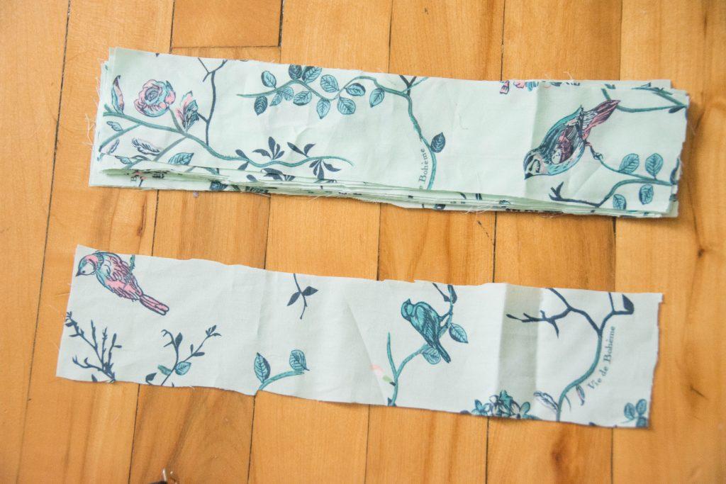 cut tabs Funky Monkey Fabrics Vie de Boheme sunrise cotton print DIY tab curtain Montreal lifestyle blog 1
