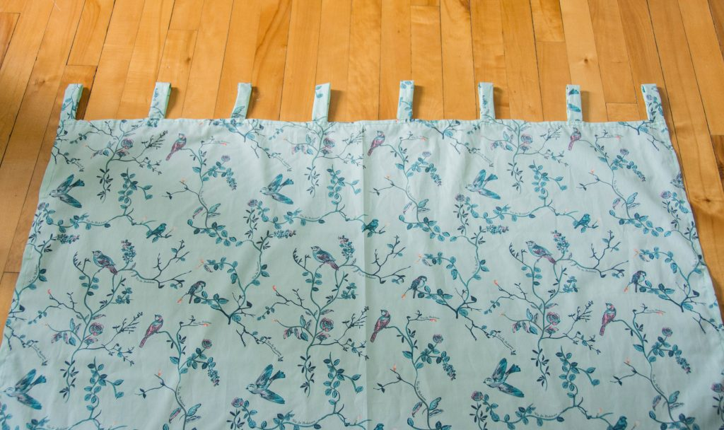 finished curtain Funky Monkey Fabrics Vie de Boheme sunrise cotton print DIY tab curtain Montreal lifestyle blog 1