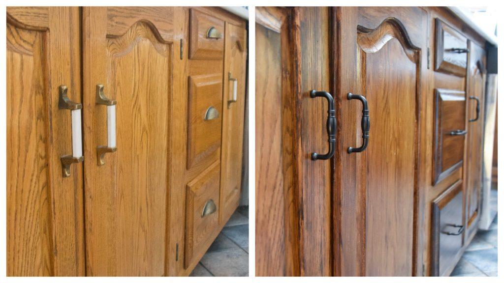 vintage matte black cabinet hardware Amerock Granby 3 inch centre bar pulls before and after Montreal lifestyle DIY blog