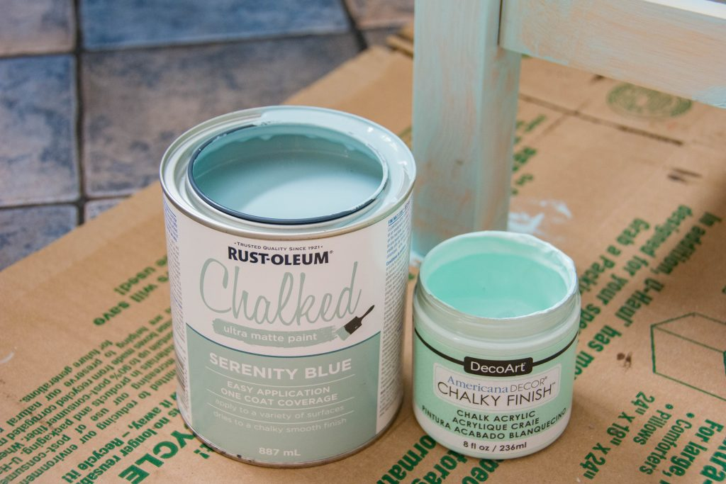 Americana Decor Chalky Finish paint Refreshing Rust-Oleum Chalked Paint Serenity Blue IKEA Forhoja kitchen island refinish remodel Montreal lifestyle DIY blog
