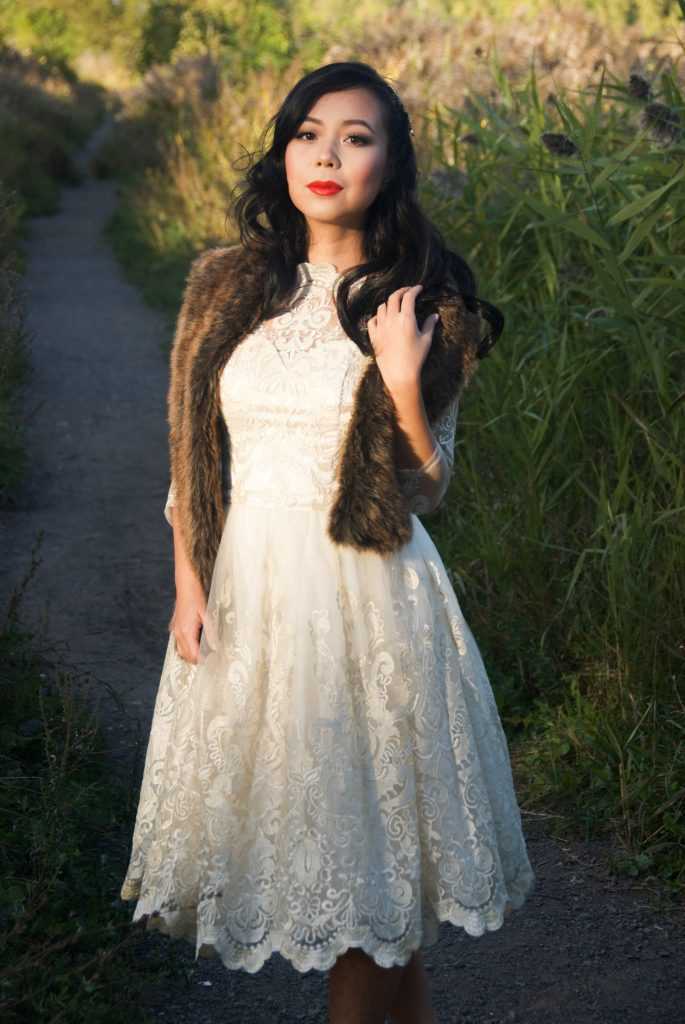 Restoration Hardware faux fur scarf Modcloth Chi Chi London verity dress vintage retro lace cream wedding bridal fit and flare Montreal fashion blog 1