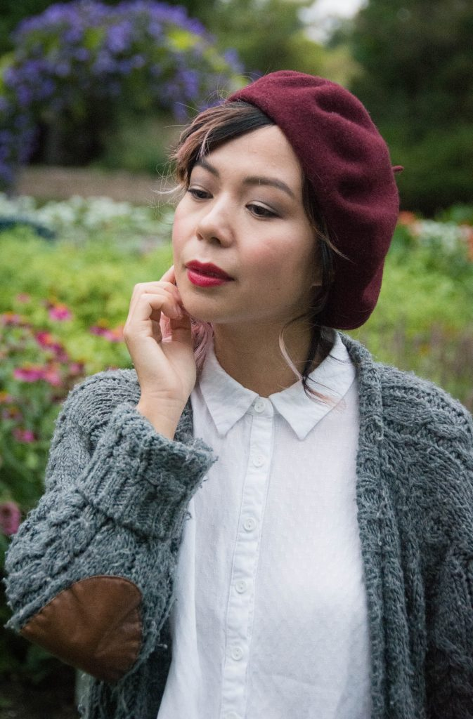 Simons Parkhurst burgundy beret Montreal lifestyle fashion beauty blog