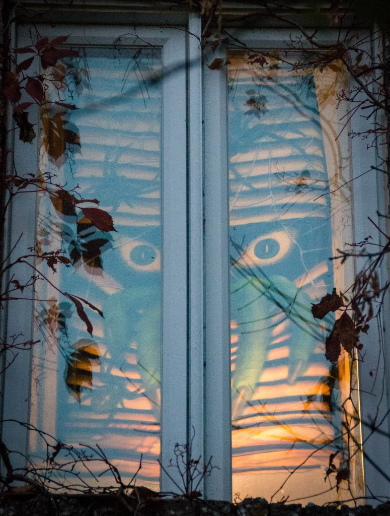 monster peeking outside outdoor Halloween decor Montreal lifestyle blog