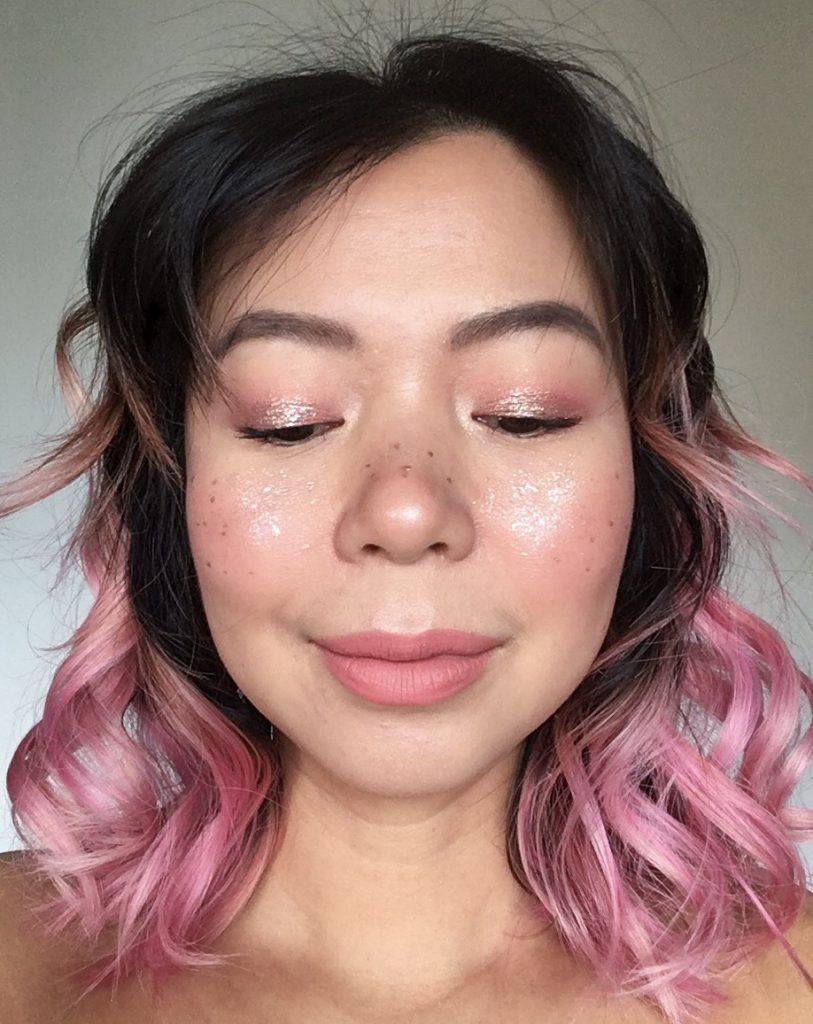 pink metallic glitter fairy Halloween makeup Montreal beauty fashion lifestyle blog