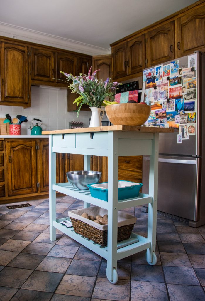 Ikea Forhoja kitchen island cart refinish Montreal DIY lifestyle blog budget kitchen remodel