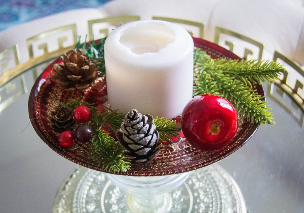 candle cake tray easy Christmas decor Montreal lifestyle fashion beauty blog