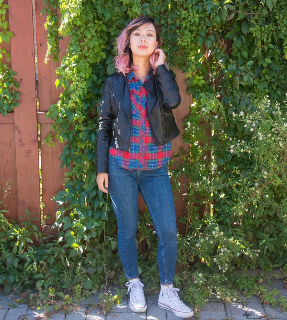 fall fashion plaid shirt leather jacket Montreal fashion beauty lifestyle blog 2