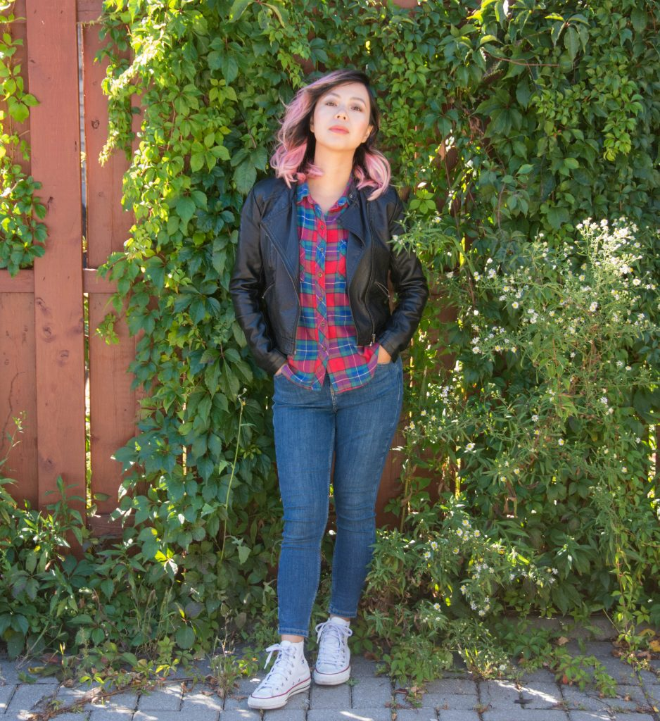 fall fashion plaid shirt leather jacket Montreal fashion beauty lifestyle blog 3
