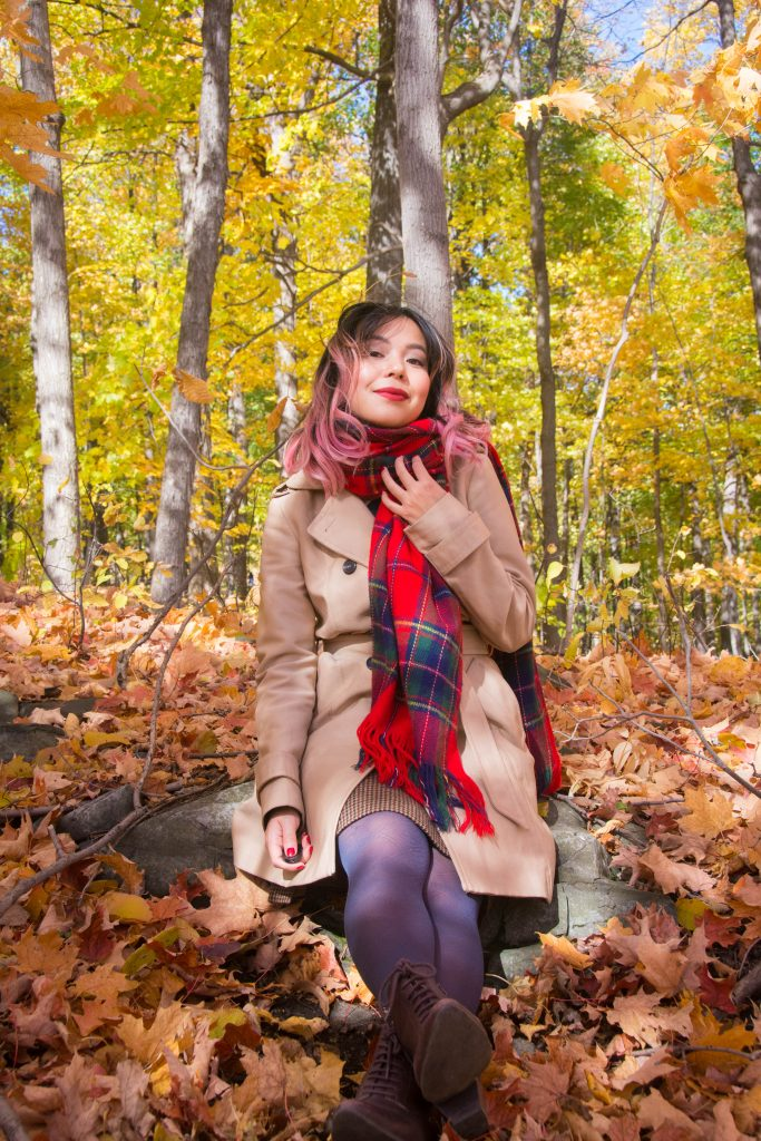 plaid tartan scarf trench coat fall Montreal fashion beauty lifestyle blog 2