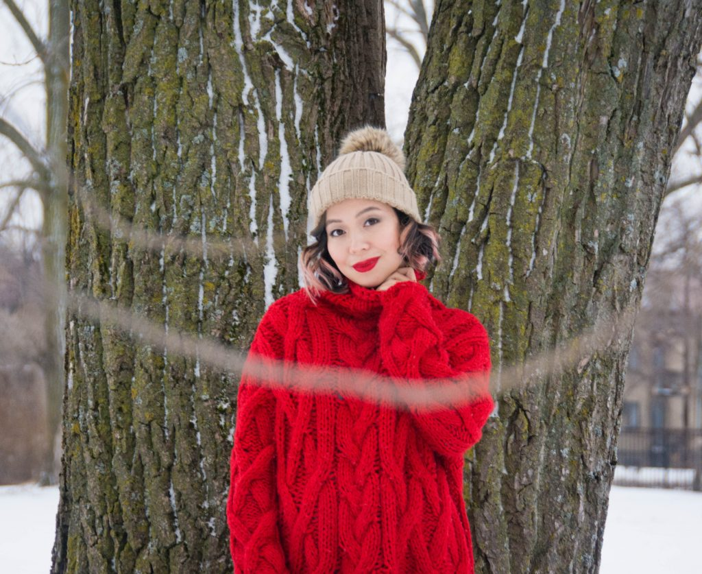 Zara oversized red cable knit turtleneck beige pompom hat leather leggings Northside Kathmandu winter boots Montreal fashion blog 4
