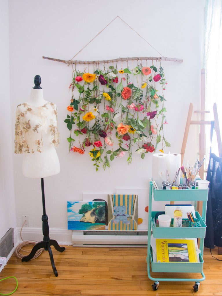 dress form floral wall hanging utility cart office remodel Montreal decor lifestyle blog