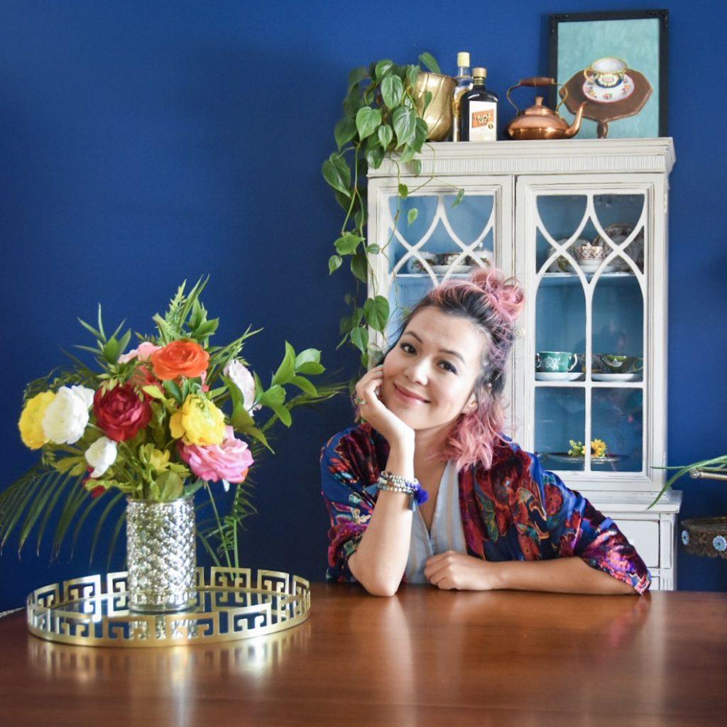 blue outfit velvet cardigan kimono stripped dress Montreal fashion lifestyle blog 2