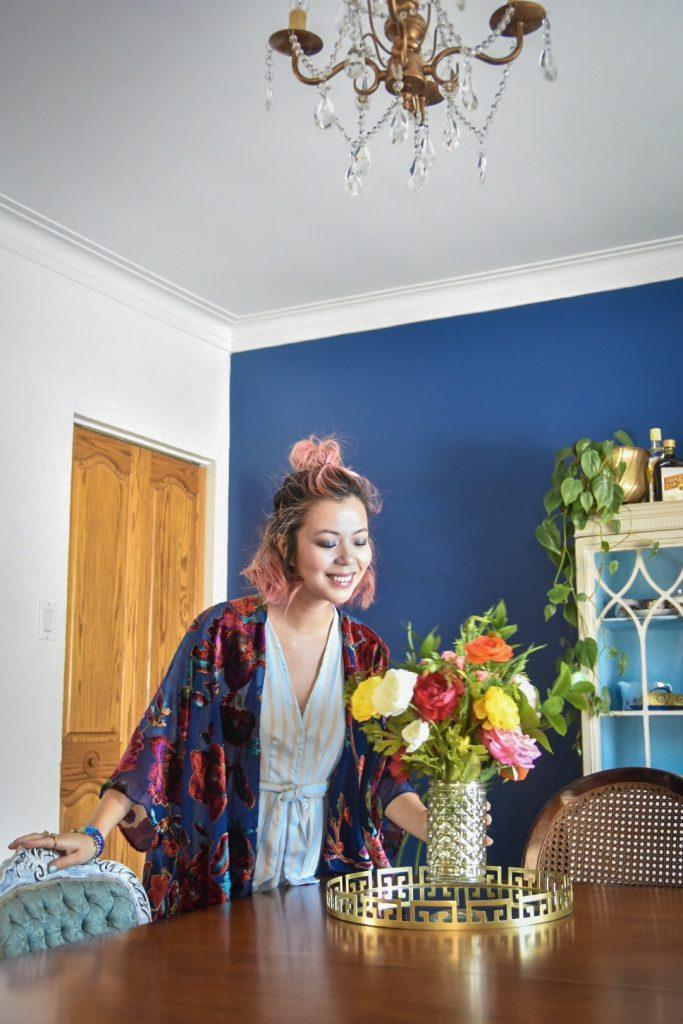 blue outfit velvet cardigan kimono stripped dress Montreal fashion lifestyle blog 3