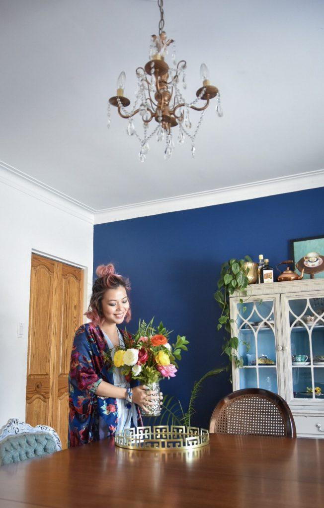 blue outfit velvet cardigan kimono stripped dress Montreal fashion lifestyle blog 4