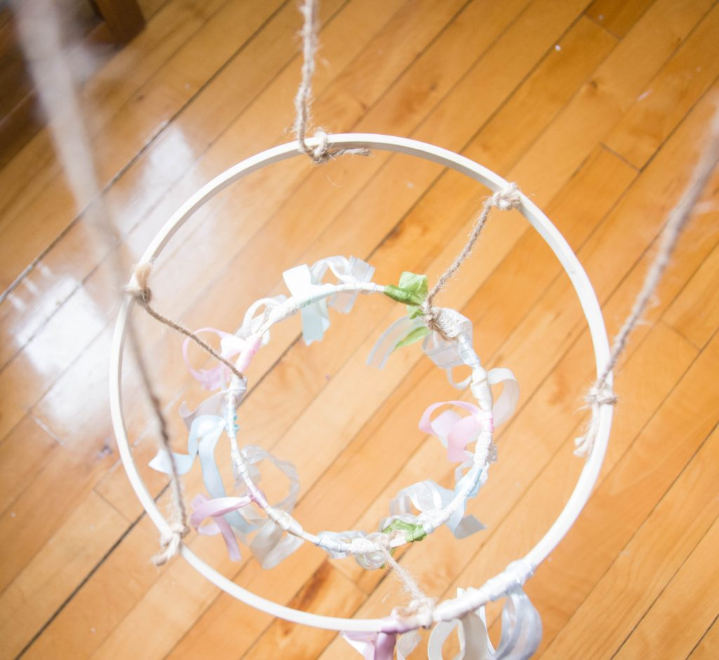 tie twine DIY ribbon chandelier Montreal lifestyle blog