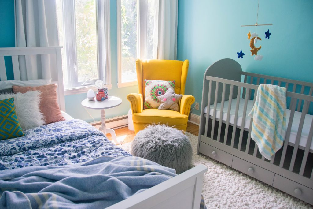 unisex gender neutral yellow grey blue baby nursery design decor Montreal lifestyle beauty fashion blog 3